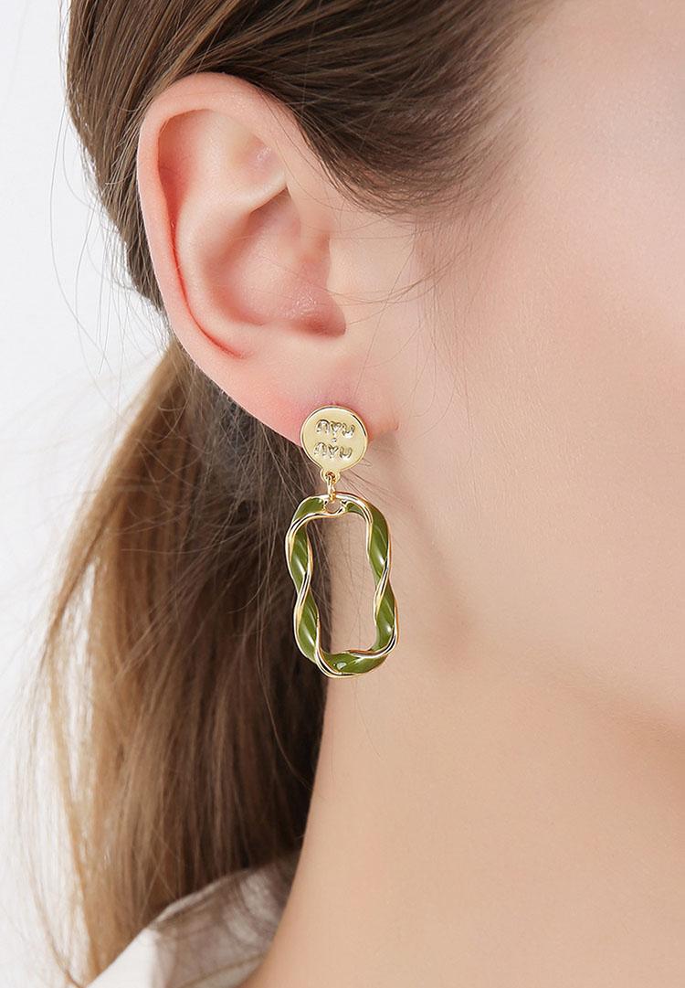 不對稱風知音白綠滴釉鋯石耳環
