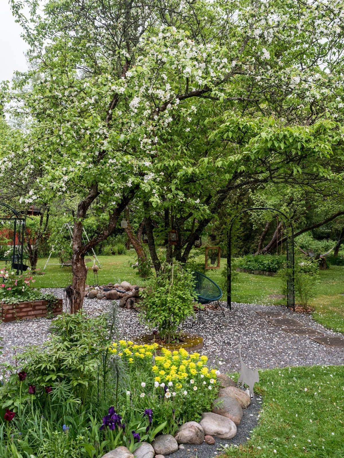 vanhan talon puutarha