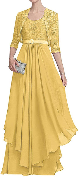 Long Gold Mother of The Bride Dresses