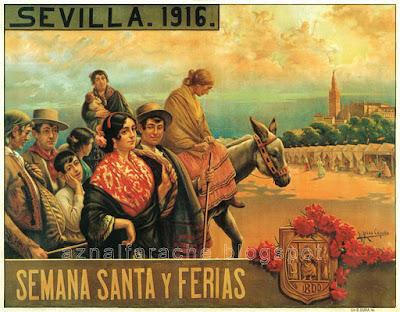 Cartel Fiestas de Semana Santa y Feria de Sevilla 1916 José Rico Cejudo