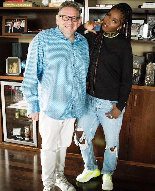 Tiwa Savage pictured above with the CEO of Universal Music Group, Lucian Grainge.