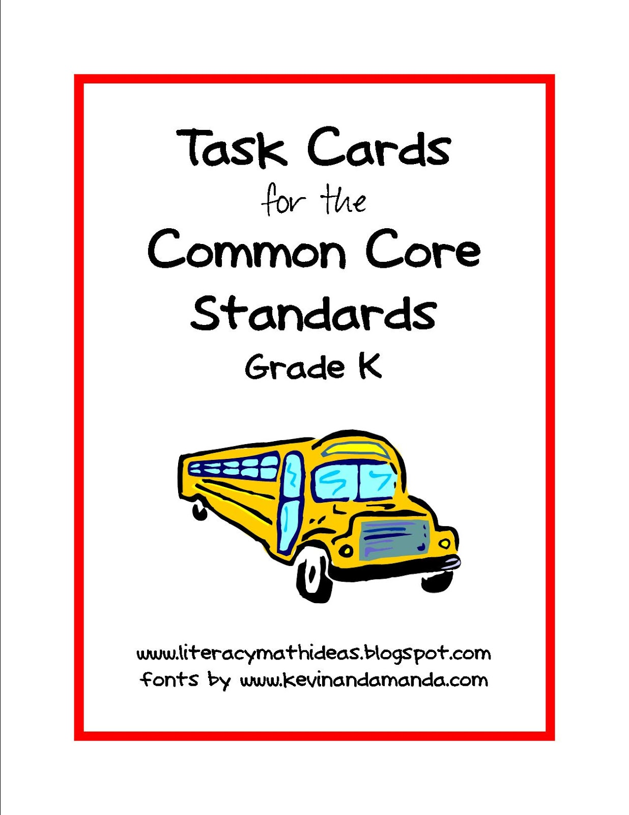 Literacy Amp Math Ideas Common Core Standards Task Cards