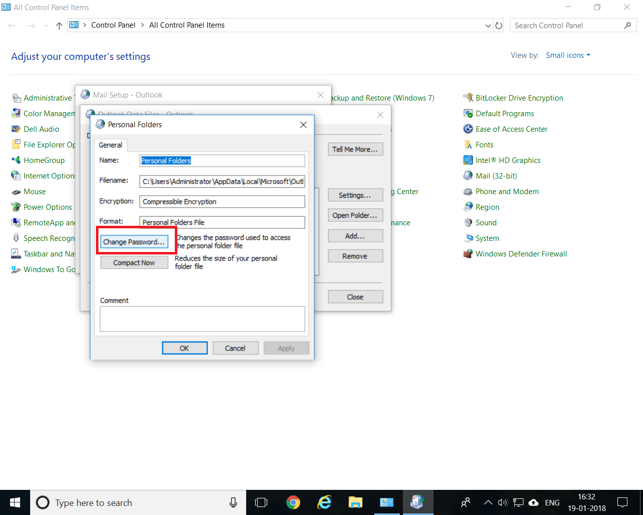 how to change password on outlook.com mail