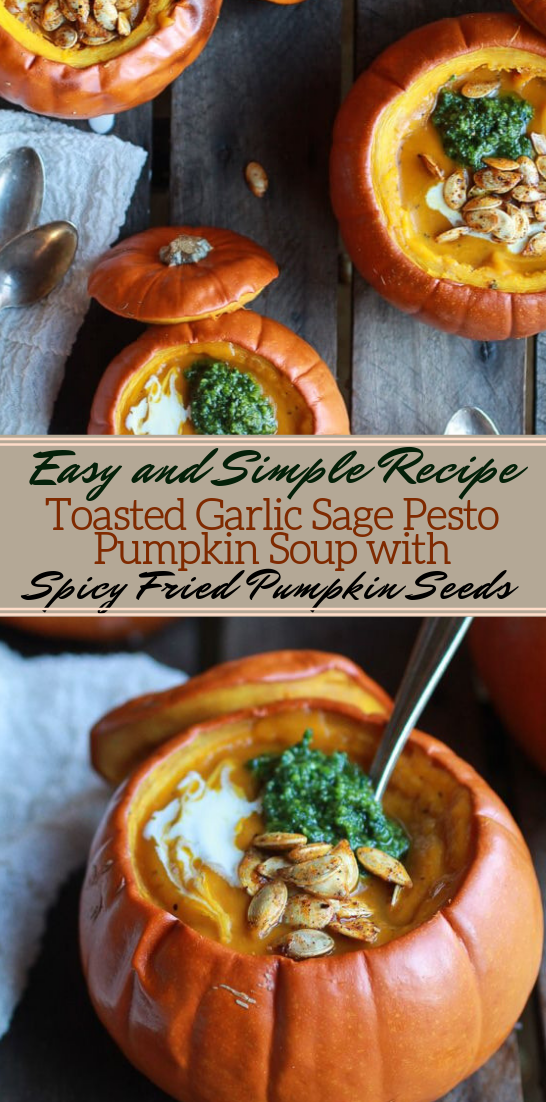 Toasted Garlic Sage Pesto Pumpkin Soup #vegan #vegetarian #soup #breakfast #lunch