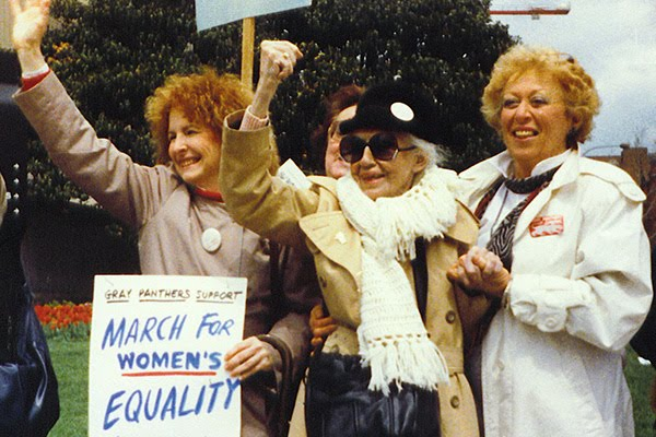 Twin Cities Gray Panthers march for women's equality. Founder Maggie in the center. 1980s