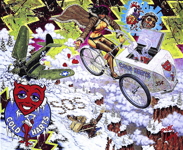a Robert Williams painting, cold hearts, no sympathy for the dying man