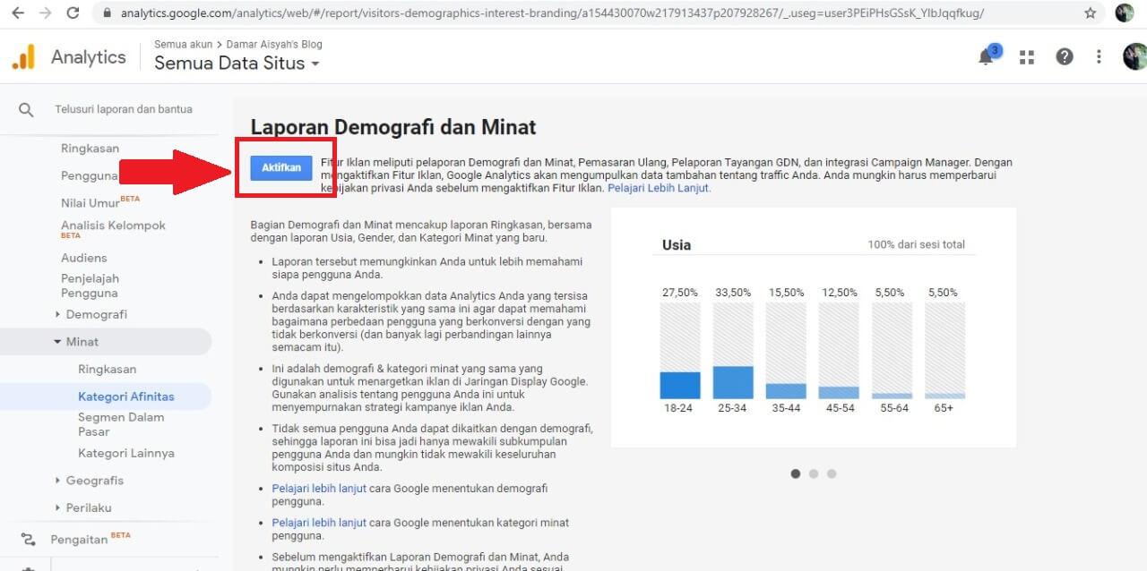 cara menggunakan google analytics aktifkan demografi