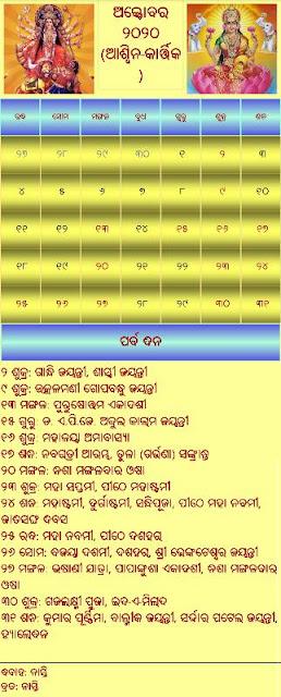 Odia Calendar 2020 October