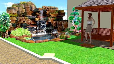 Dekorasi relief rumah halaman belakang