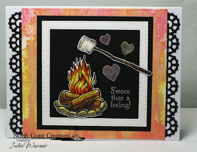 North Coast Creations Stamp and Dies: S'More Love, Our Daily Bread Designs Custom Dies: Double Stitched Squares, Squares, Layered Lacey Square