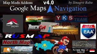 ets 2 google maps navigation normal & night version map mods addons v4.0