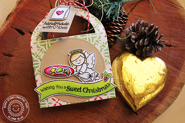 Sunny Studio: Christmas Gift Treat Box by Eloise Blue (using Sunny Semi Circle Dies & Little Angels & Blissful Baking Stamps).