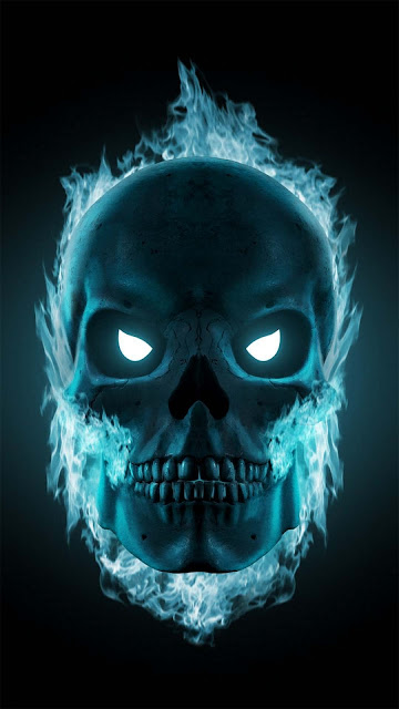 18 Fire Skull, Blue Fire Skull, Art Ball Skull Ultra HD Wallpapers for iPhone and Android