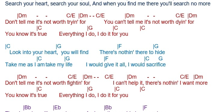 Talkingchord Bryan Adams Everything I Do I Do It For You