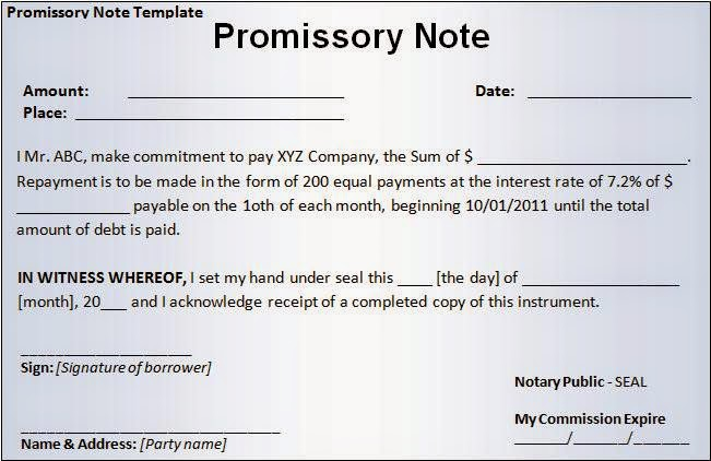 Bill Of Exchange Template blank promissory note template success – Sample Promissory Letter