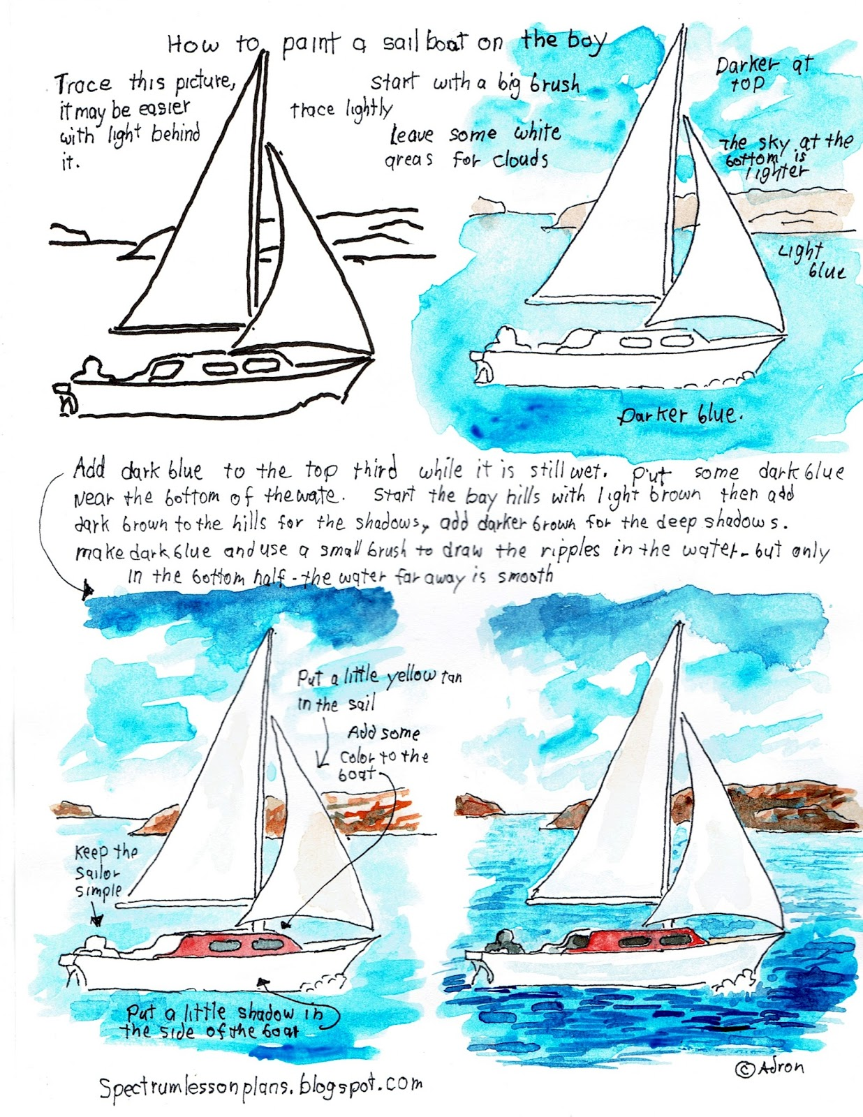 Adron S Art Lesson Plans Printable How To Paint Worksheet Sailboat On The Bay