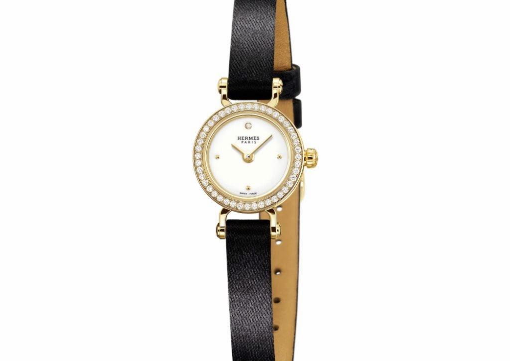 Hermès Faubourg watch diamond set gold case