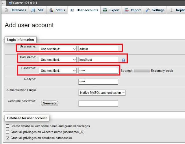 cara buat database phpmyadmin localhost