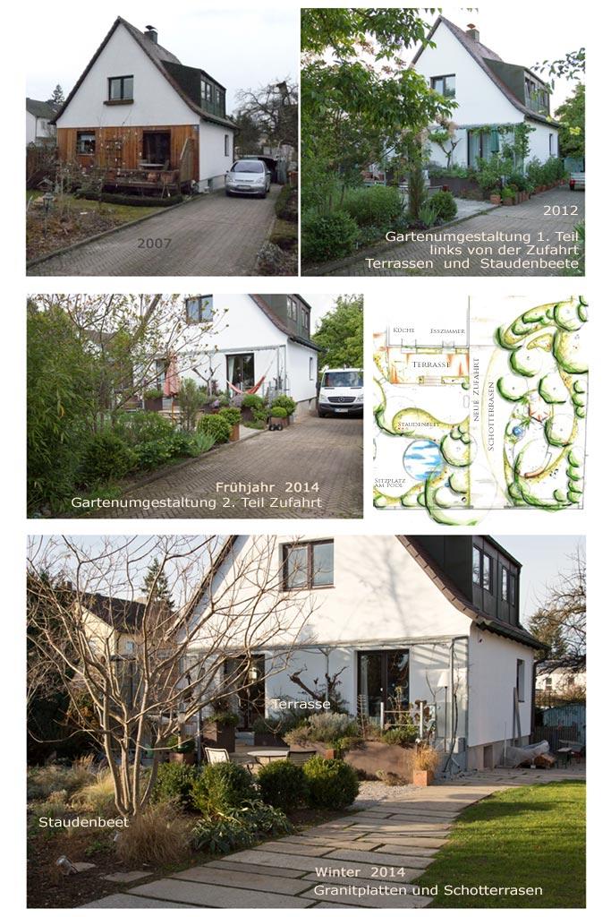 Eine neue, lange Zufahrt für unseren Garten wir mit Granitplatten und Schotterrasen gestaltet