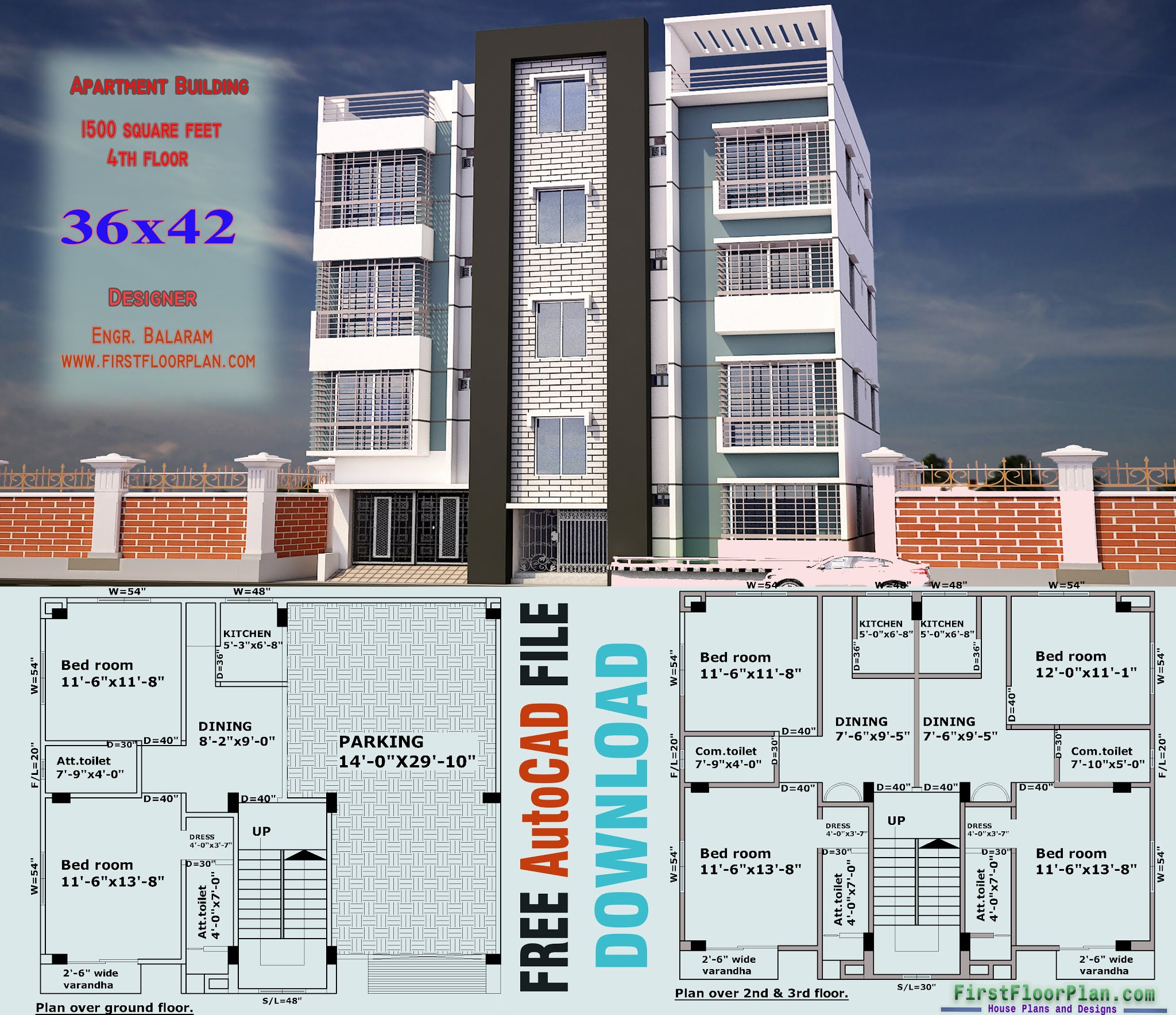 Elevation Designs for 4 Floors Building | 36 x 42 | AutoCAD File Free Download