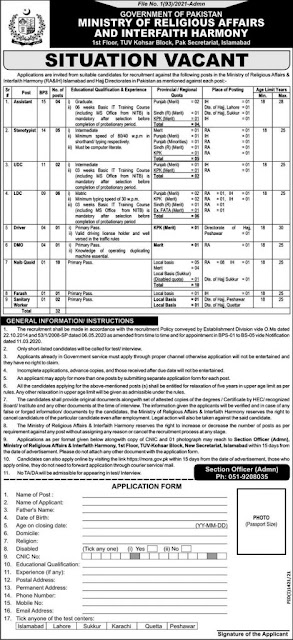 Latest Today jobs-Ministry of Religious Affair & Interfaith Harmony jobs 2021