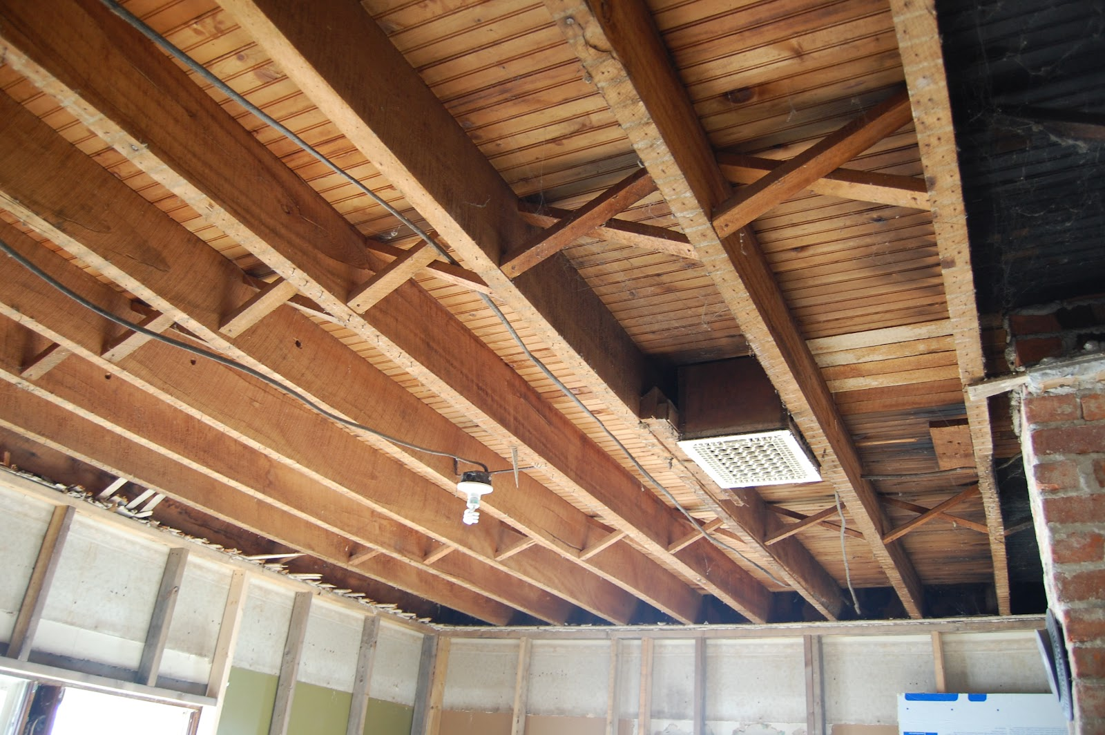 The Burk Haus Living Room Exposed Floor Joists Mayhem