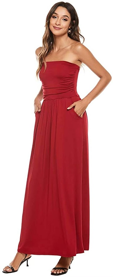 Best Quality Red Strapless Maxi Dresses