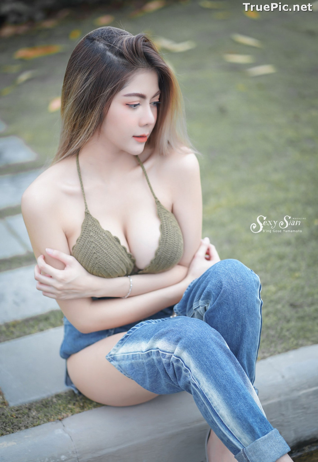 Image Thailand Model - Paeploy Panpeng - Green Tea Bra and Jean - TruePic.net - Picture-10