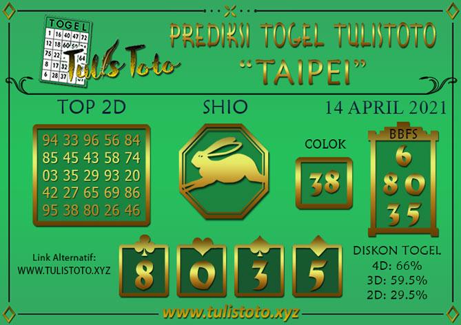 Prediksi Togel TAIPEI TULISTOTO 14 APRIL 2021
