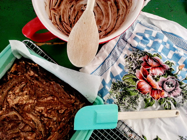 image of mixing bowl,chocolate peanut brownie, vintage apron, blogging, party food