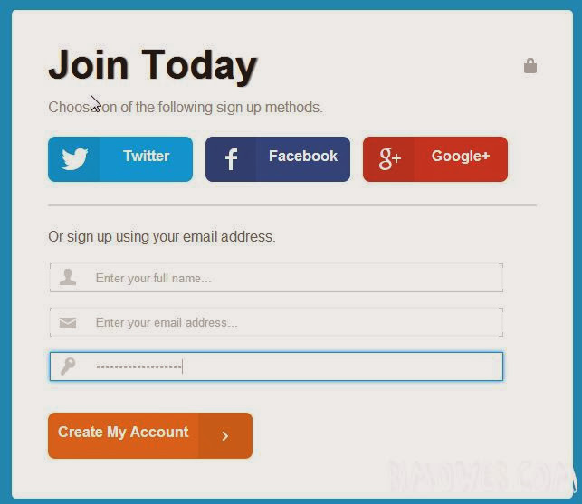 Login Form with Twitter, Facebook and Google+