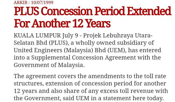 Tol Lebuhraya Utara Selatan sepatutnya tamat pada bulan Mei 2018, Mahathir yang lanjutkan