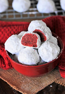 Bowl of Red Velvet Snowball Cookies Image