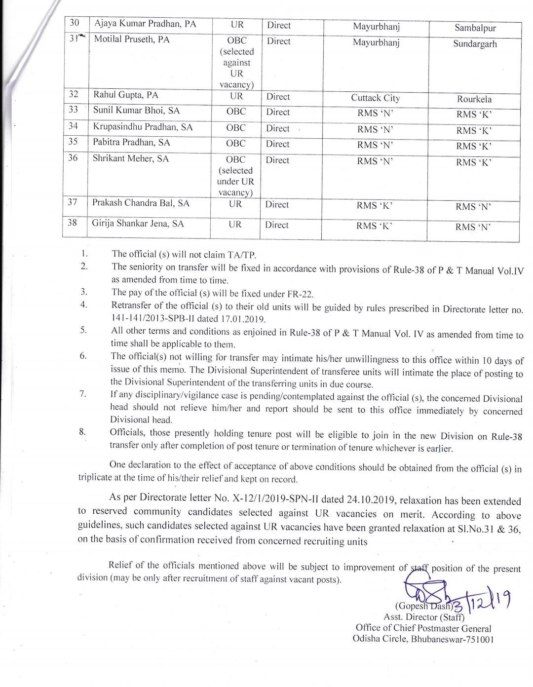 Rule 38 transfer list in odisha circle