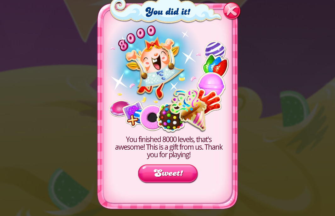 Candy Crush Saga level 8000