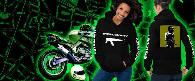 Mercenary Biker Hoodie available from the Mercenary Garage Merchandise Store - https://mercenary-garage.myshopify.com/