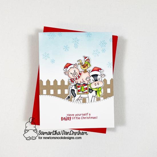 Farm Animals Christmas Card by Samantha VanArnhem | Dairy Christmas Stamp Set, Fence Die Set and Land Borders Die Set by Newton's Nook Designs