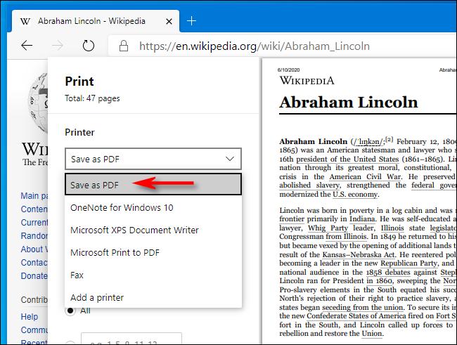 حدد Save as PDF في نافذة الطباعة في Microsoft Edge