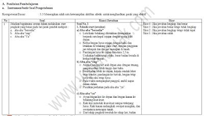 Instrumen Penilaian KI-3 ( Pengetahuan ) dan KI-4 ( Ketrampilan ) Penjas Kurikulum 2013 Revisi Terbaru Tahun 2017