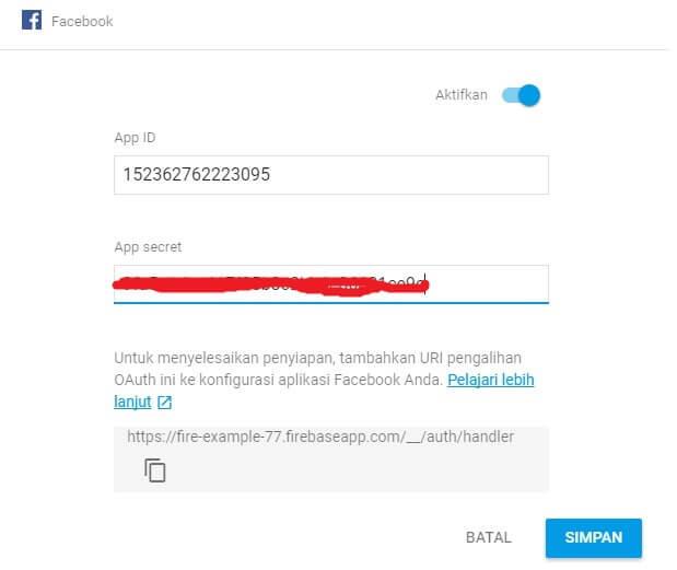 Memasukan ID Aplikasi dan Sercet App pada Autentifikasi FB di Firebase