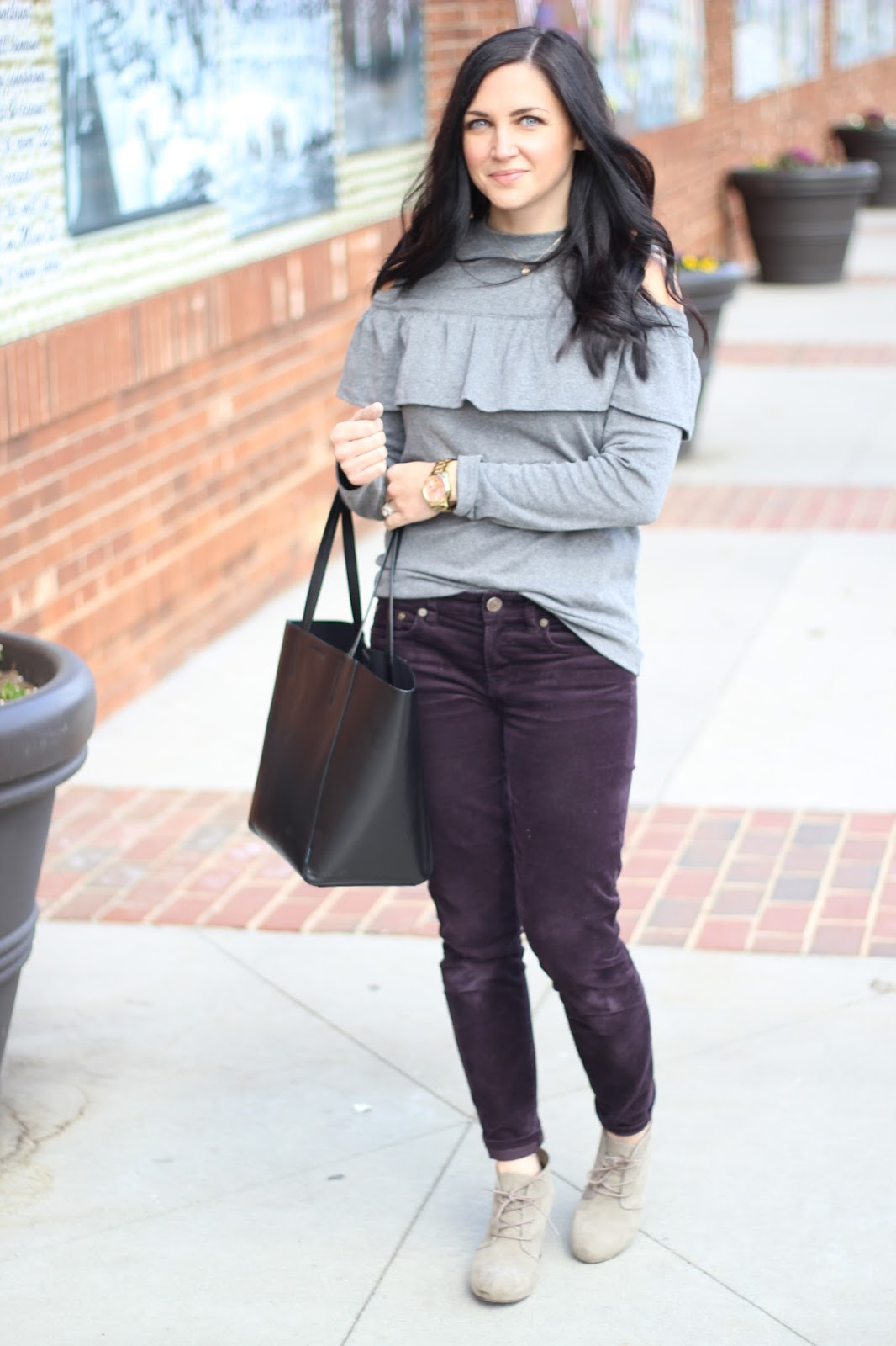 Cold Shoulder Sweatshirt with corduroy pants