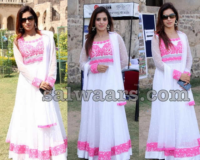 White and Baby Pink Long Length Salwar