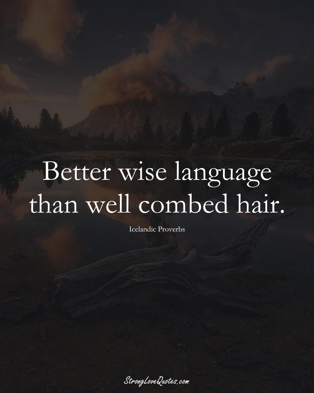Better wise language than well combed hair. (Icelandic Sayings);  #EuropeanSayings