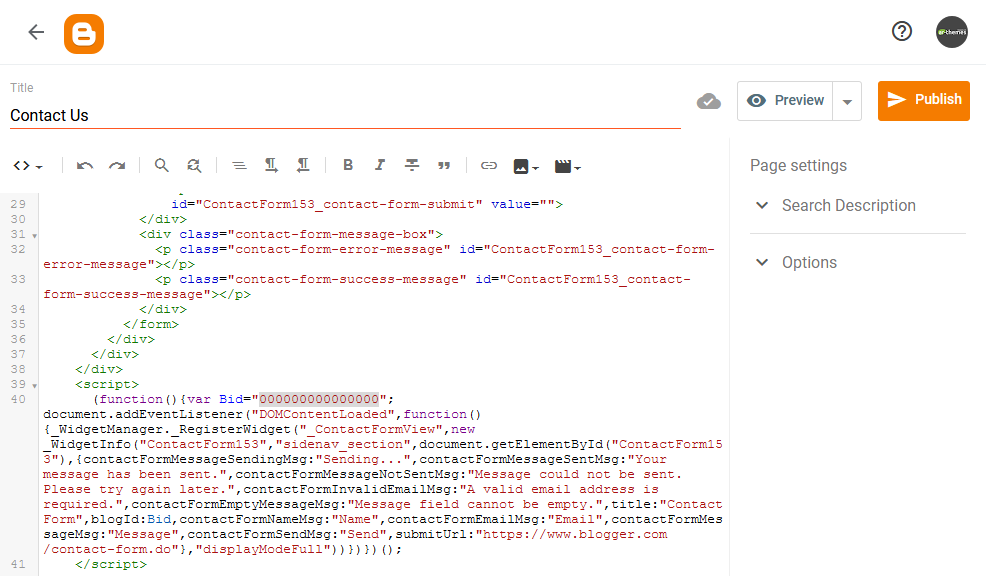 Adding Contact Form to Static Page or Post in Blogger Code Image