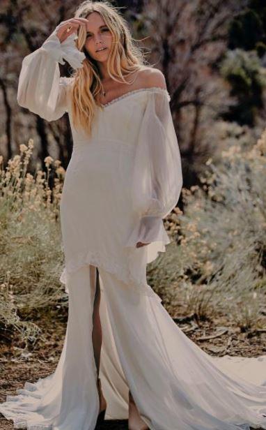 vestido hippie com fenda