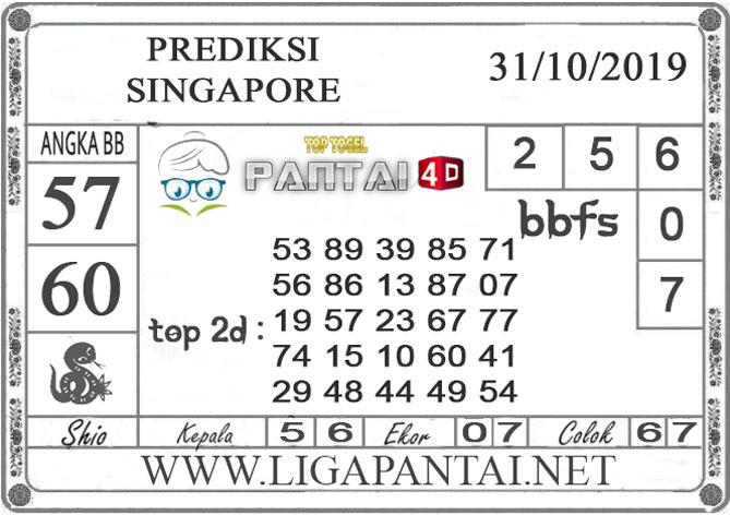 """PREDIKSI TOGEL """"SINGAPORE"""" PANTAI4D 31 OKTOBER 2019"""