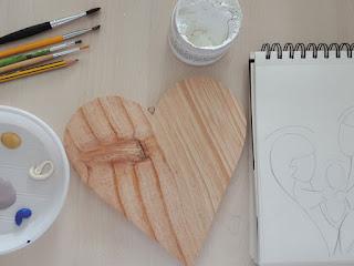 materiali per un presepe dipinto su legno
