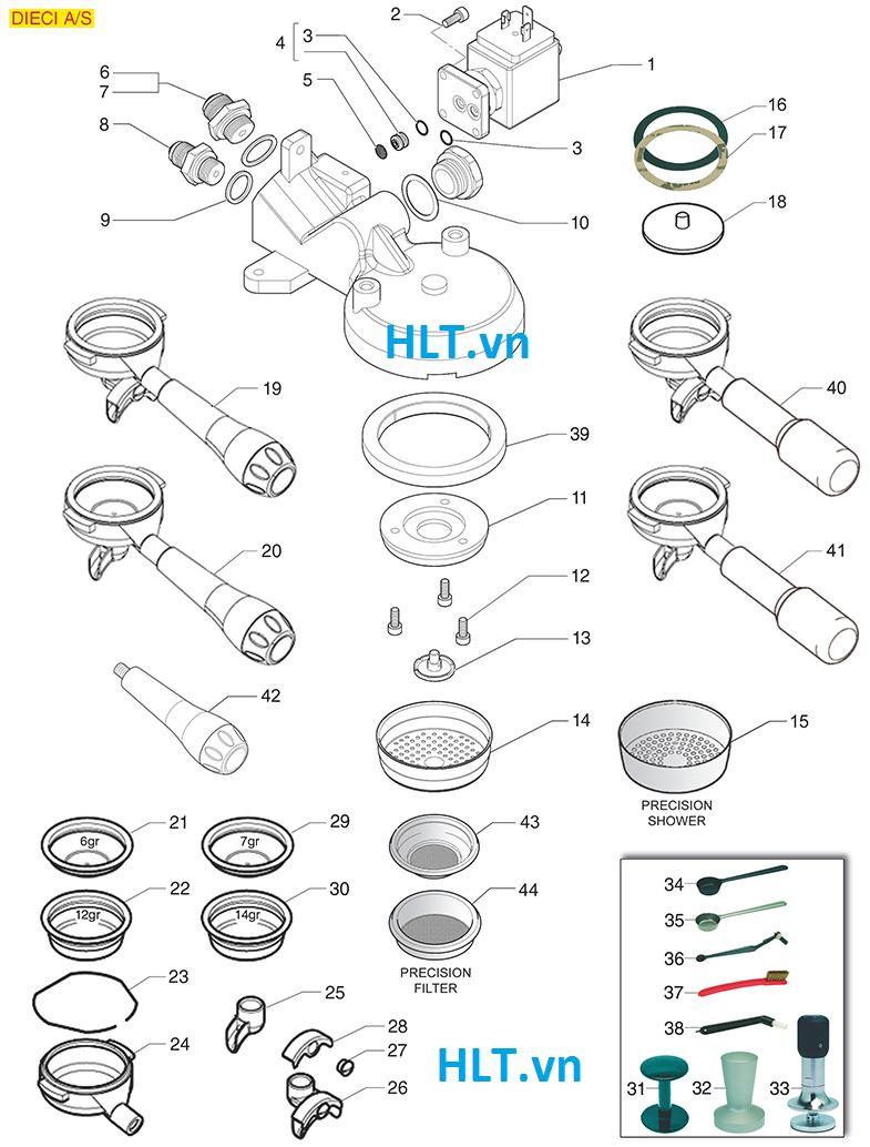 Cấu tạo bộ phận nước ra và tay cầm máy pha cà phê Casadio (1-2-3 GR)