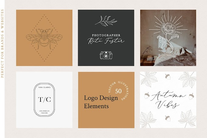 Fully Customizable Logo Design Elements Vector Illustrations