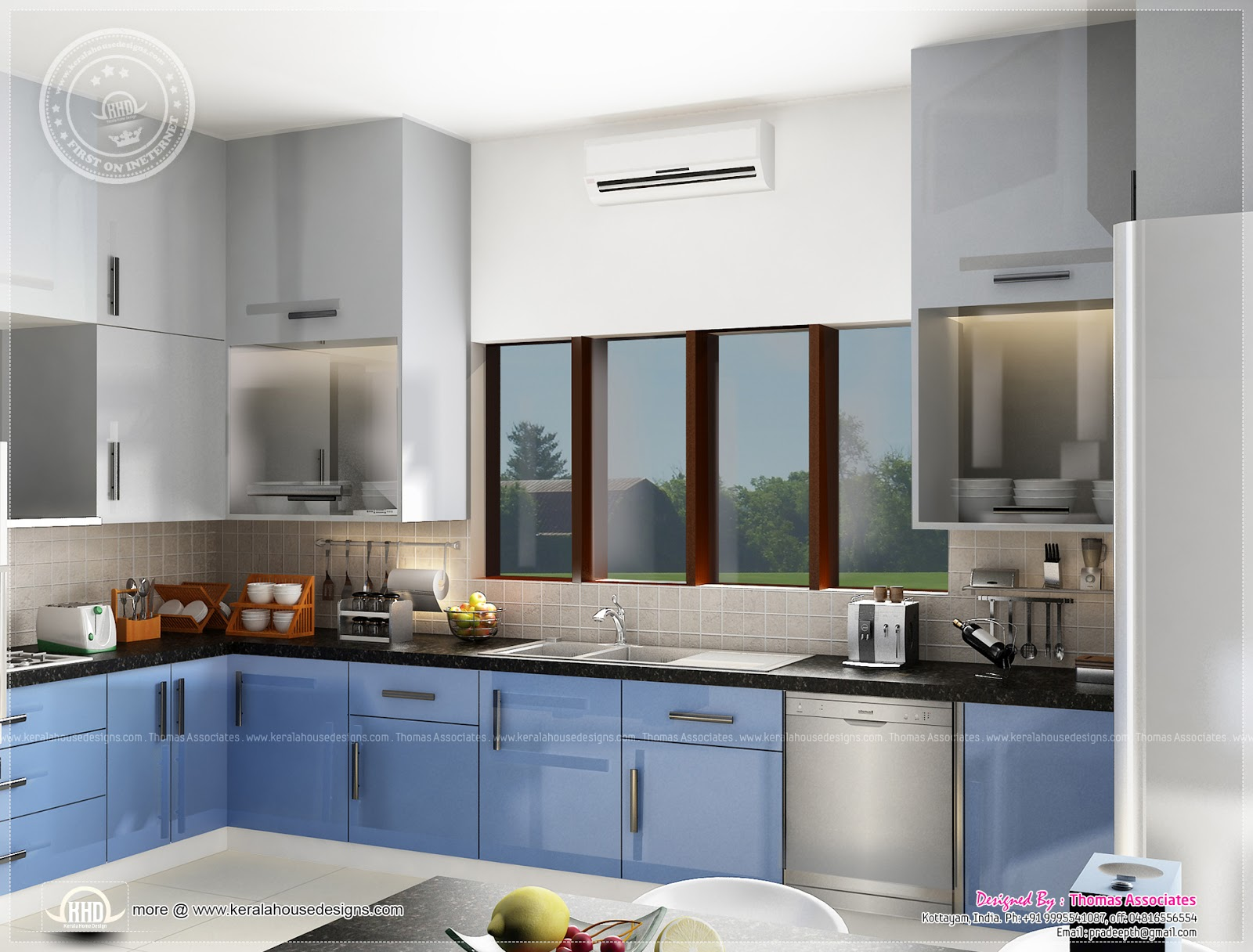 Beautiful blue toned interior designs kerala home design for Interior design of kitchen room in india